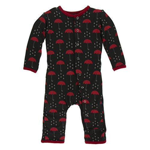 - Kickee Pants Little Boys Print Coverall with Snaps - Umbrellas and Rain Clouds, 9-12 Months