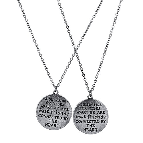 Lux Accessories Burnish Silvertone Side by Side Best Friends BFF Charm Necklace 2PC