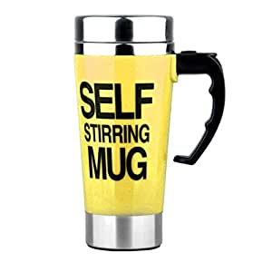 Aspire 15 oz. Electric Self-Stirring Coffee Mug, Stainless Steel Auto Self Mixing Cup-Yellow