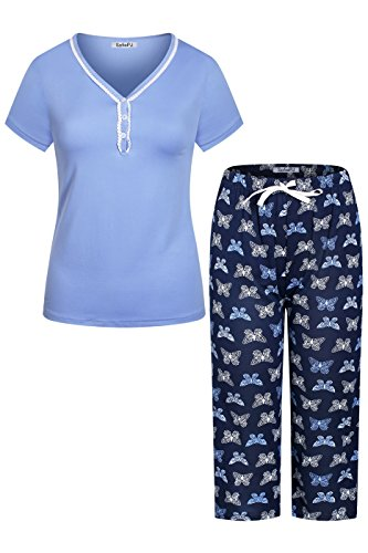 Butterfly Capri Set - SofiePJ Women's Stretchy V Neck Short Sleeve Capri Pants Pajama Set Purple Navy L