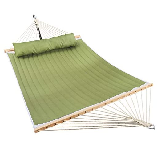 Green Stripes Perfect for Outdoor Patio Yard Double Hammock with Bamboo Wood Spreader Bars Patio Watcher 11 Feet Quilted Fabric Hammock with Pillow