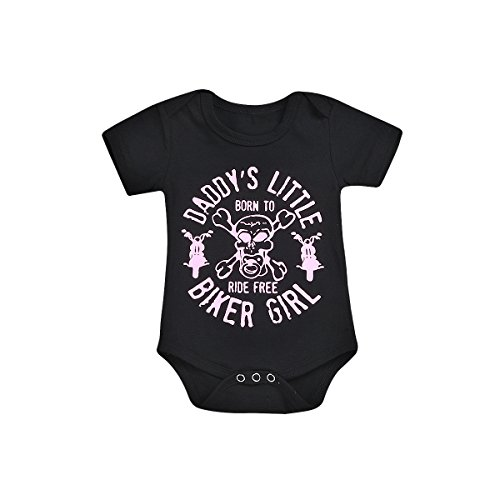Girls Biker Shirts - BELS Summer Newborn Baby-Girls Short Sleeve Letter Printed One-Piece Balck Romper Outfits (Black, 80/6-12M)
