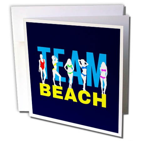 3dRose Alexis Design - Beach, Sea, Surf - Team Beach Text, Beautiful Girls in Colorful Bikinis on Navy Blue - 1 Greeting Card with Envelope (gc_283693_5) (Team Colors Personalized Invitations)