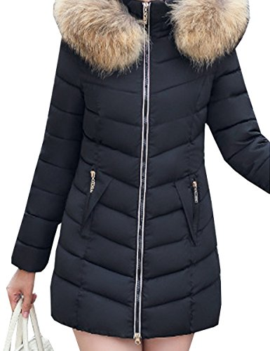 Nero Collar Thick Long Jacket Outwear Coat Fur Winter Blackmyth Cotton Women Down BRwqfnH