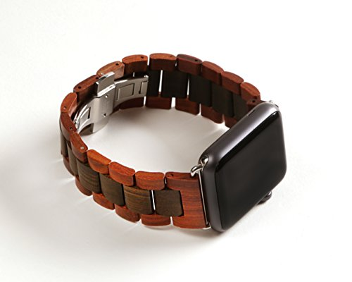 KoolBands Unique Luxury Handmade Wooden Watch Band With 2 Extra Wood Links And Tool For 42mm Apple Watch 1 And Apple Watch 2 (Red  Black)