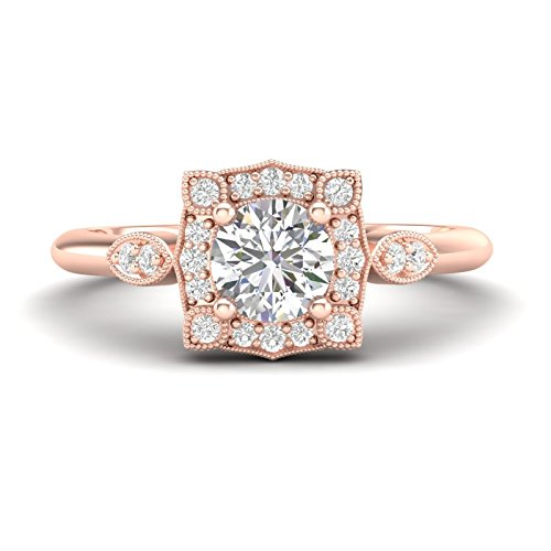 54e7f7b5cc9 Amazon.com: 14K Rose Gold Floral Halo Engagement Ring Flower Ring ...