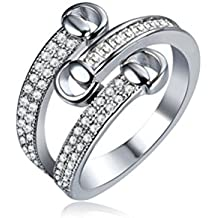 Mrsrui Multi Line Criss Cross Round Cubic Zirconia Luxury Eternity Band Ring White Gold Plated