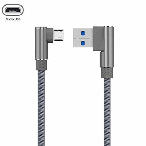 YANSHG USB Micro Cable 90 Grados Codo Doble Trenzado Datos ...