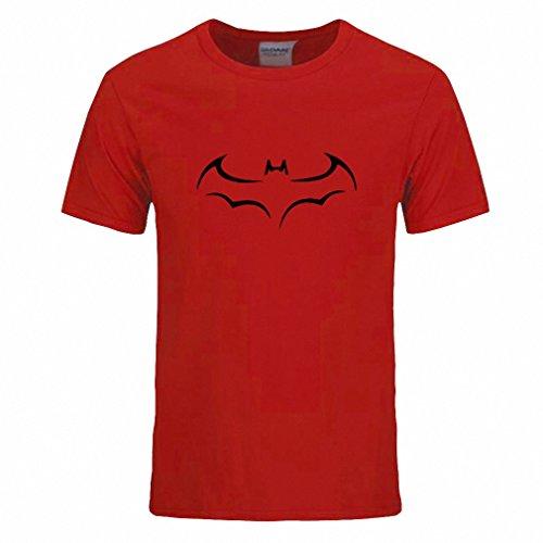 Cotton Men T Shirt Casual Short Sleeve T-Shirt For Men Batman Print Men T Shirt Crewneck Mens Tee Shirt Red and black XXL