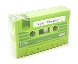 Cassette Tape Holder & Tape Dispenser - Great office supply and gift (Green)