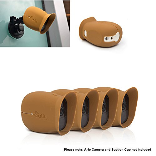 Silicone Skins for Arlo Pro (4 pcs Brown) for Arlo Pro and Pro 2 Pro2 Wireless Free Camera Protective Case - for Netgear Arlo Pro Smart Security Accessories VMA4200B - Perfect fitting - By Sully