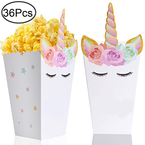 36 Pcs Popcorn Boxes Treats for Unicorn Party Favors Supplies by Standie ()