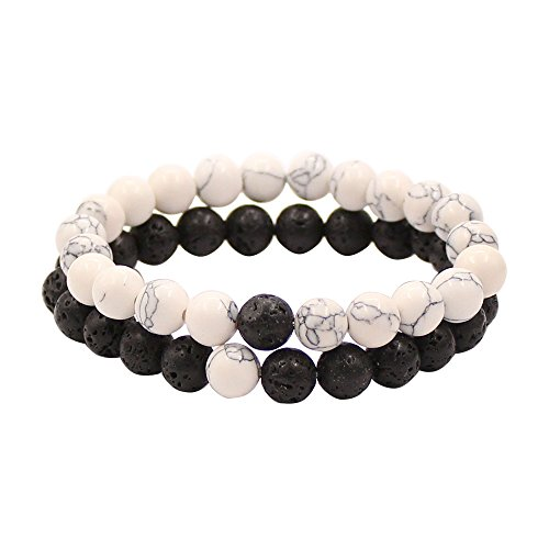 UEUC TSK Couples His and Hers Bracelet White Howlite&Black Lava Beads Yin Ying Matching Distance Bracelet