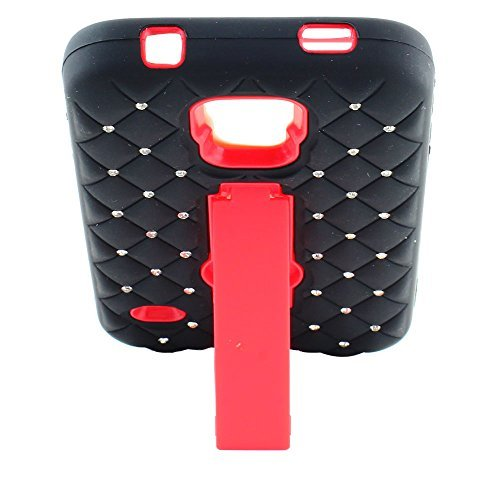 IMAX Dual Layer Diamond Rugged Stand Hybrid Hard Gel Cover Case For Samsung Galaxy S5 I9600 (Red+Black)