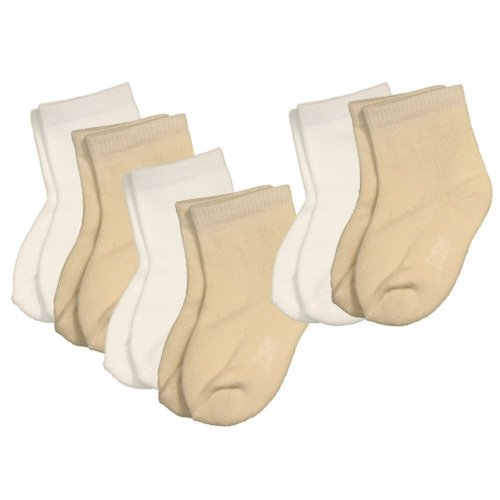 Ecoland Organic Cotton Baby Newborn Quarter Socks 0-6 months - 6 Pairs Value - Natural/White
