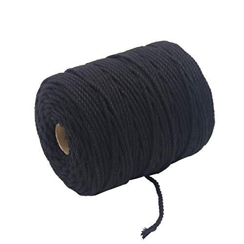 - Vivifying 109 Yards 3mm Macrame Cord, Strong Cotton Macrame String for DIY Crafts, Gifts(Black)