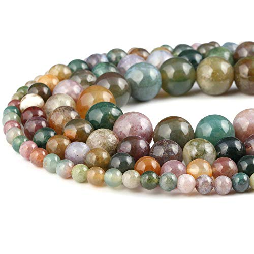 8mm Natural Indian Agate Beads Round Gemstone Loose Beads for Jewelry Making (47-50pcs/strand)