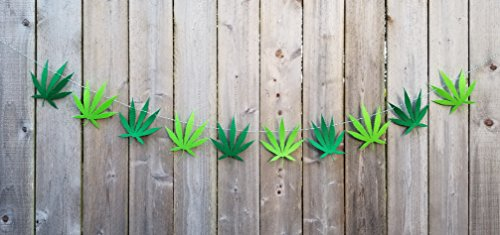 Marijuana Pot Leaf Weed Banner Wall n Room Decor Celebrate 4/20 in Style I Weed Marijuana Accessories Cannabis Theme Party Supplies I Leaf Decorations Tapestry Gifts – Hemp Leaves String Garland