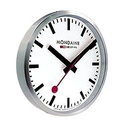 Mondaine 40cm Wall Clock - White Dial - Silver-Tone Case - Dust Resistant
