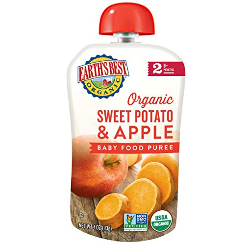 Earth's Best Organic Stage 2 Baby Food, Sweet Potato & Apple, 4 Oz Pouch (Pack of 12)