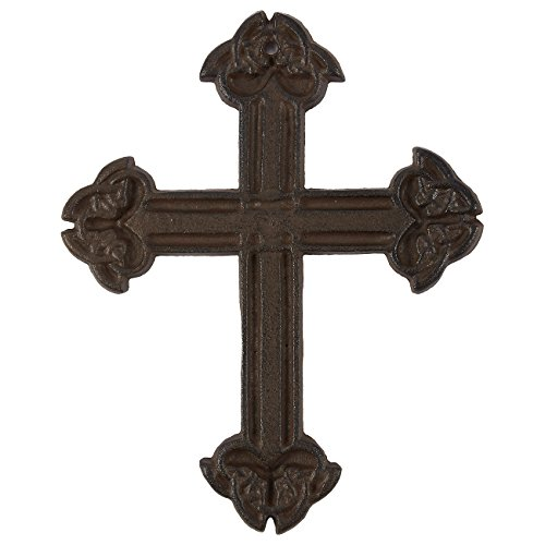 Juvale Wrought Iron Cross Decoration - Rustic Metal Cross Christian Religious Art Lovers, Dark Bronze, 7.9 x 6.3 x 0.5 inches