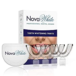 "NovaWhite Teeth Whitening Trays - Moldable, Trimmable, Custom Fit, Comfortable, BPA FREE, Latex Free, Dental Grade Guard - (4) Mouth Trays, Hygienic Case "" Easy to Mold, Mouth Tray for Tooth Whitening"