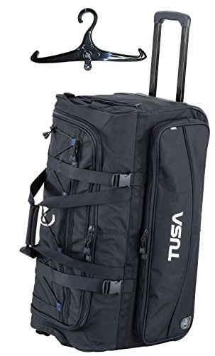 Tusa Dive Gear Roller Duffle Bag in Black w/Black BCD and Regulator (Roller Dive Bag)