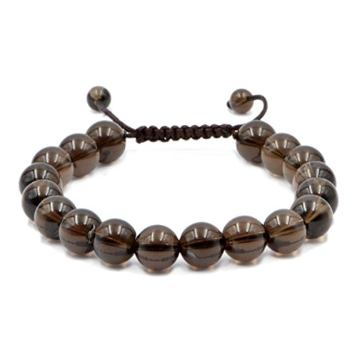 Quartz Bracelet Quartz Smoky - AD Beads Natural 10mm Gemstone Bracelets Healing Power Crystal Macrame Adjustable 7-9 Inch (Smoky Quartz)