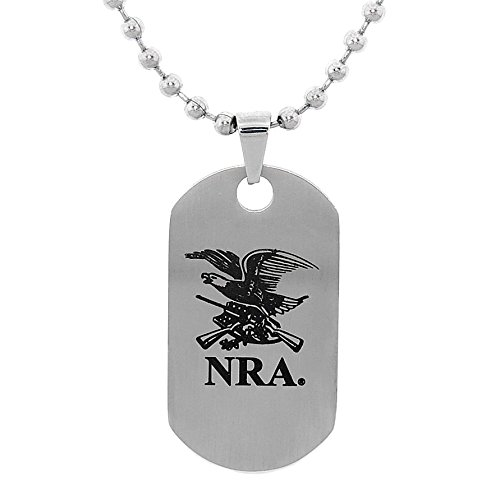 NRA Stainless Steel Two Sided Eagle/2nd Amendment Dog Tag Necklace