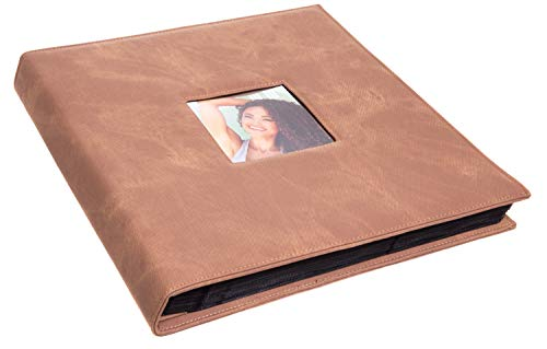 Red Co. Brown Faux Leather Family Photo Album with Front Cover Window Frame - Holds 600 4x6 Photographs