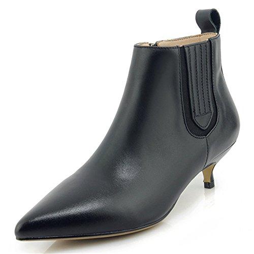 Women's Dressy Black Booties Toe Leather Zip Heel Pointed Seven Ankle Stiletto Handmade Nine Genuine qtUSxwqR