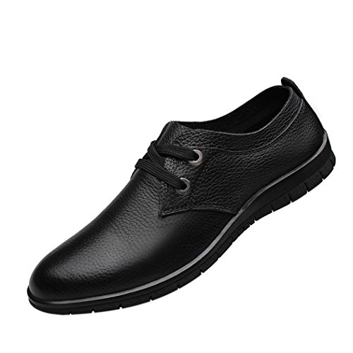Snowman Lee Men's Leather Laced-up Derby Office Classic Two-Eyelet Rubber-Sole Boat Shoes Black 10.5 M US