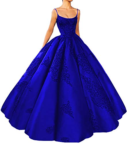 M Bridal Women's Long Embroidery Spaghetti Straps Quinceanera Dresses Ball Gowns Royal Blue US10