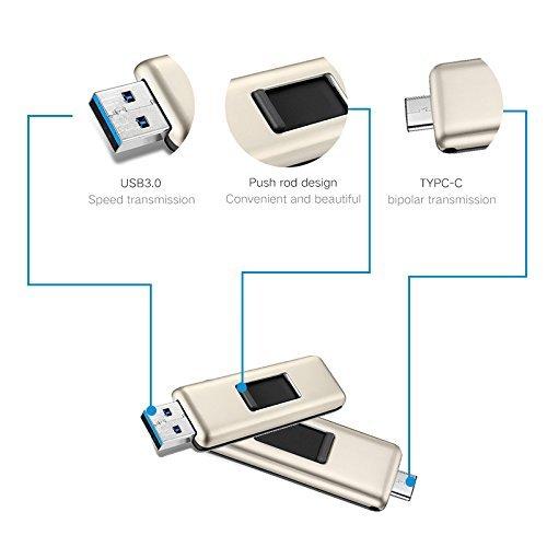 oscoo Dual USB flash drive per Type-C 3.1+ USB 3.0(Oro e Nero) 64 Gb