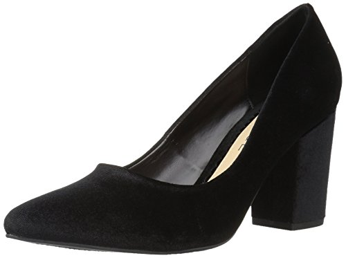 (Rampage Women's Bethie Chunky Block Heel Pump, Black Velvet, 7.5 Medium US)