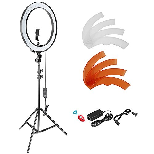 - Neewer 18-inch Outer Dimmable SMD LED Ring Light Lighting Kit with 78.7 inches Light Stand, Phone Holder, Hot Shoe Adapter for Portrait YouTube Video Shooting (No Carrying Bag)