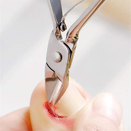 Toenail Clippers Stainless Steel Cuticle Nippers Lifter Nail Clipper Cutter Trimmer Dead Skin Cut Scissors Manicure Nail Tool for Thick Ingrown Toenail (Silver)