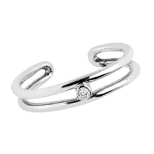 Sterling Silver Two Row Bezel-set Cubic Zirconia Toe (Bezel Toe Ring)