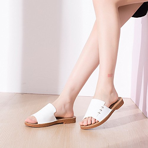 Summer White for Heel Leisure Slippers Low Slippers qfwZaO1q