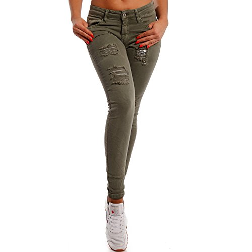 para Vaqueros skinny Básico Fashion mujer Caqui Young cFBqgnP