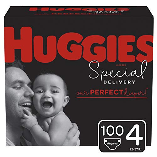 Huggies Special Delivery Hypoallergenic Diapers, Size 4 (22-37 lb.), 100 Ct, One Month Supply (Huggies Little Movers Diaper Pants Size 4)