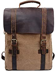 S-ZONE Updated Double Zipper Version Unisex Vintage Canvas Genuine Leather Travel School Bag 15.6 Laptop Backpack Rucksack Daypack Casual Daypacks