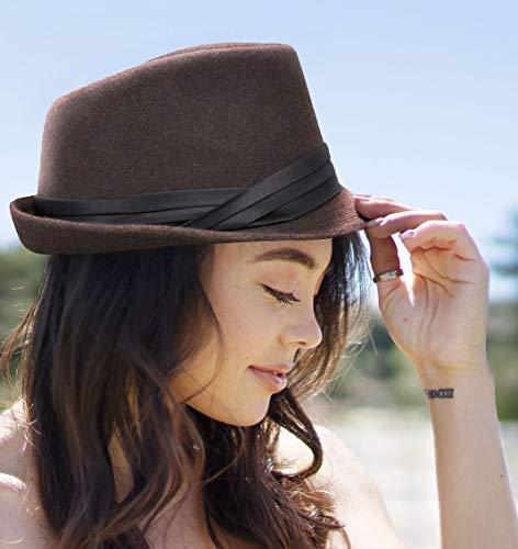 cf6ccb0fb00 Simplicity Mens Felt Fedora Hat Unisex Classic Manhattan Fedara Hats,Coffee