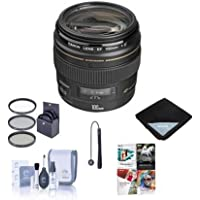 Canon EF 100mm f/2 USM Medium Telephoto AutoFocus Lens - USA - Bundle with 58mm Filter Kit, Lens Cap Leash, Lens Cleaning Kit, Lens Wrap (15x15), Pro Software Package