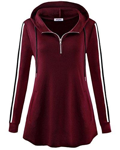 YaYa Bay Hoodies For Women Plus Size, Womens Fashion Hoodie Sweatshirts Vintage Striped Long Sleeve Sweater Hoodie Kangaroo Pouch Pocket Jumper Hooded 2X Large Wine Red Tunic Tshirt Athletic Long Sleeve Sweater