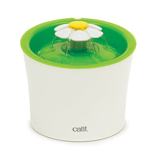 Catit Flower Fountain: 100 fl oz or 3L Drinking Fountain with Triple-Action Filter