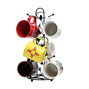 Smilingtree,Coffee & Tea Mugs Tree Storage Holder Cup Rack Organizer Kitchen Mug Hooks Black,kitchen organizer set