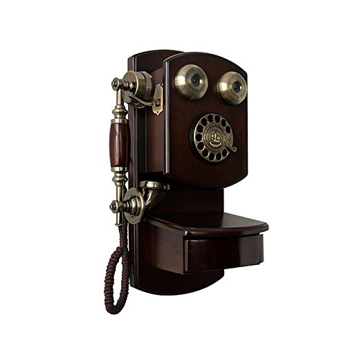 (DNSJB phone Wooden Wall-Mounted Telephone Vintage Rotary Dialing Retro Wired Wireless Card Telephone Fixed-line landline Decorative Phone (Color : B))