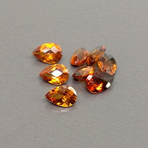 Cut Faceted Pear (12x8mm natural hessonite garnet faceted cut pear, 5 piece garnet loose gemstone)