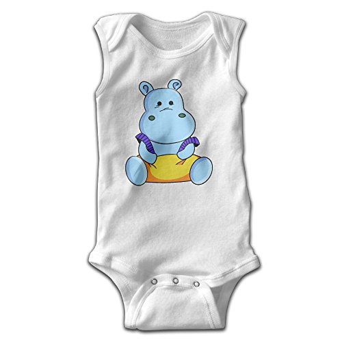 [Anne Infants Boy's & Girl's Hippo Short Sleeve Romper Bodysuit Outfits For 0-24 Months White] (Toddler Conductor Outfit)